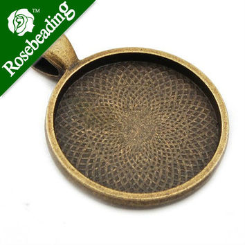 25mm Antique Bronze Round Cameo Cabochon Bezel Base Setting Pendants ,Sold 20 Pcs per pkg;Blank Pendant Trays,pendant bezel