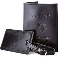 Leather Passport/Luggage Tag, Jet, Passport Cases