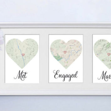 Met, Engaged, Married. Personalised framed map love story.  Engagement / Anniversary / Wedding gift for Couples