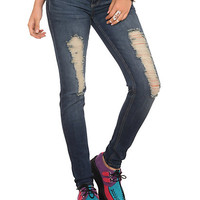 Medium Indigo Wash Destroyed Skinny Jeans