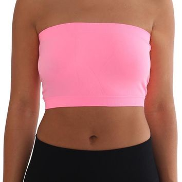 Women's Strapless/Seamless Tube Top Bandeau - Pink
