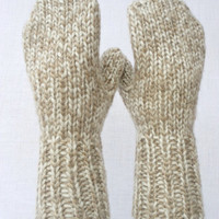 Chunky Knitted Mittens unisex Sheep Wool Beige Men Women Teens