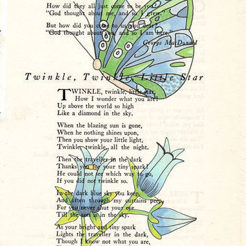 Blue Green Butterfly and Blue Flowers Book Page Art Poem Page Art Upcycled Art Print Blue = Green Butterfly Print cp370