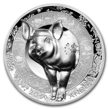 2019 France 1 oz Silver Year of the Pig High Relief Proof (Lunar)