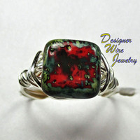 DWJ0193 Czech Glass Picasso Red & Green Wire Wrapped Ring All Sizes