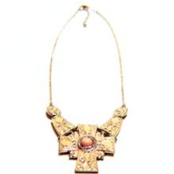 Crystal Cross Enamel Chain Necklace