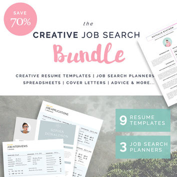 9 Resume / CV Templates | 3 Job Search Planners | Cover Letters | Bonus Spreadsheets | Advice | The CREATIVE Job Search Bundle | SAVE 70%