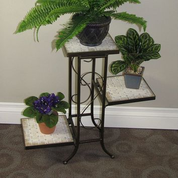 Travertine 3-Tier Plant Stand - Outdoor (Brown)
