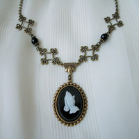 Black and White Praying Hands Cameo Onyx Bead Antique Brass Floral Link Necklace Handmade Gifts Victorian Style