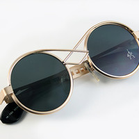Hi Tek vint gold round silver metal sunglasses by hitekdesigns