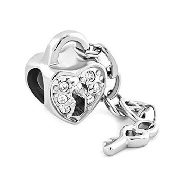 LuckyJewelry Lock and Key to My Heart Beads Charms For Charm Bracelets