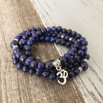 Handmade wrapped bracelet Jewelry Lapis Lazuli 108 Mala Necklace & Bracelet Meditation Gem-stone Ohm Prayer Beads Bracelet