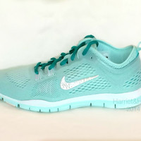 Nike Free 5.0 TR Fit 4 Breath in Mint Candy/White/TurboGreen almost identical to Tiffany Blue with Swarovski crystal detail