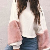 White Faux Fur Detail Long Sleeve Cropped Sweatshirt