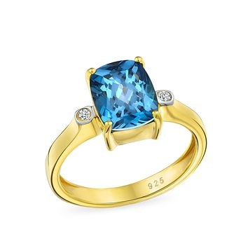 3.17CT Solitaire London Blue Topaz Ring 14K Plated Sterling Silver
