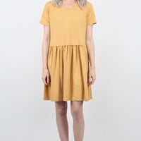Basic Suedette Smocked Babydoll Dress {Gold}