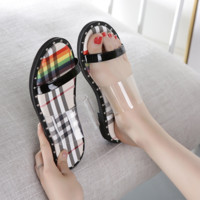 Burberry Summer's new cool slipper transparent toe flat shoes with candy stripes