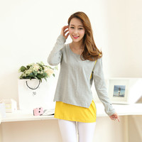 New long sleeve Breast feeding clothes pregnant clothing winter korean Maternity clothes for pregnant woman t shirt nursing top