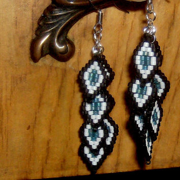 Beaded Dangle Earrings, Native American Style, Tribal Earrings, Chandelier Earrings, Dangle Earrings, Beaded Earrings, Seed Bead Earrings