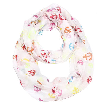 Anchor Confetti Infinity Scarf White