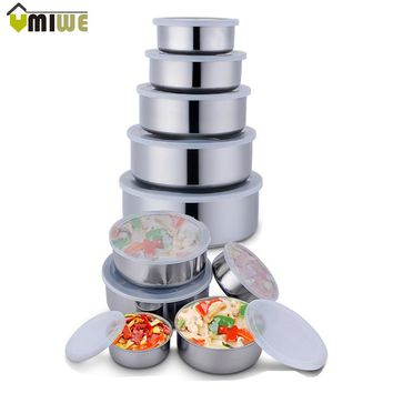 5Pcs/set Stainless Steel Crisper Sets Food Container Refrigerator Crisper Storage Box Mixing Bowls Airtight Lids Preserving Box