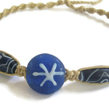 Blue Beads Hemp Necklace, Starburst Blue Choker,  Vintage Glass Beads, Hemp Macrame Adjustable Jewelry