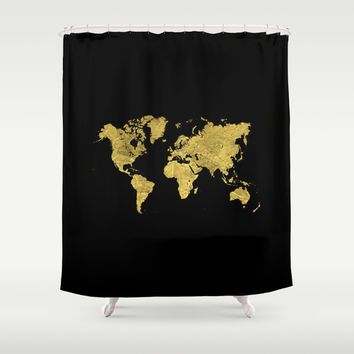 Gold Black World Map Shower Curtain by Edit Voros