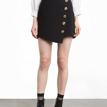 Button Asymmetric Black Mini Skirt