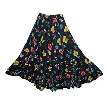 Womens Medieval Skirts Black Floral Print Cotton Flare Gypsy Maxi Skirts: Amazon.ca: Clothing & Accessories