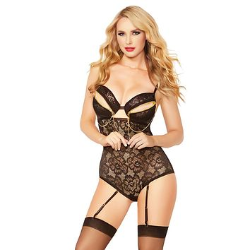 Sexy Trina Floral Lace and Chain Snap Crotch Gartered Teddy