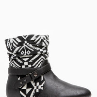 Bamboo Slouch Tribal Print Ankle Boot