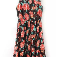 Black Floral Sleeveless Sheath A-Line Pleated Mini Dress