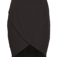 Wrap Front Knit Midi Skirt - Black