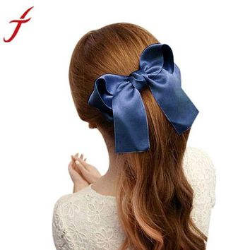 VONC4Y JECKSION Women Girls Cute Large Big Satin Hair Hair Clip Boutique Ribbon Bow #LSN
