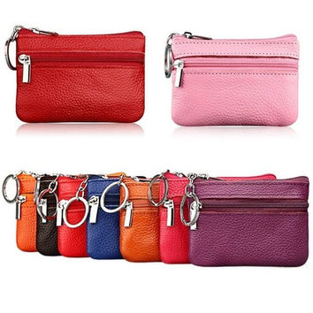 Soft Men Women Card Coin Key Holder Zip Leather Wallet Pouch Change Bags Purse[SHOWNDOWN] [8833529036]