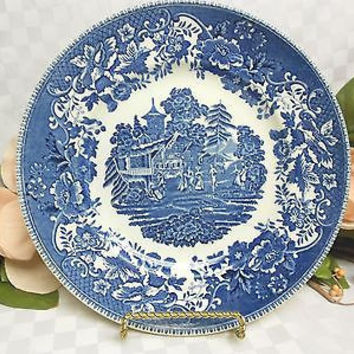Wedgwood Enoch China Dinnerware England Avon Cottage in Blue Dinner plate