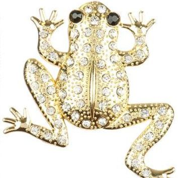Clear Pave Crystal Stone Metal Frog Pin And Brooch