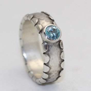 Scallop Edge Sterling Ring with Blue Zircon