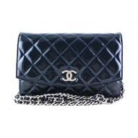 Chanel Navy Patent Iridescent WOC Wallet on Chain Purse Bag