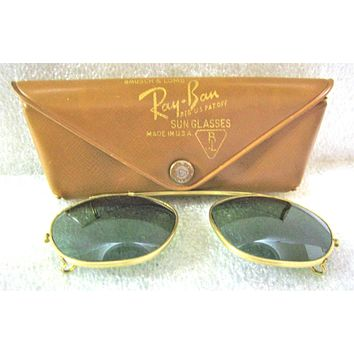 "Vintage Ray-Ban USA 1950s Bausch & Lomb Rare ""Clip-on"" 48 *Excellent Sunglasses"