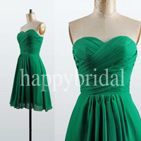 Lovely Sweetheart Short Green Bridesmaid Dresses Chiffon Prom Dresses Party Dresses 2014 New Fashion Wedding Events