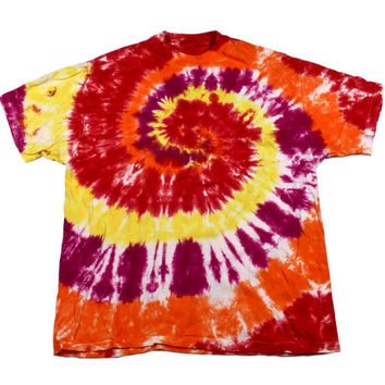 Vintage 90s Red/Yellow/Orange/Purple Tie Dye Shirt Mens Size Large