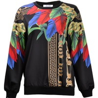 ZLYC Women Girls Fashion Feather Noble Chain Print Multicolored Sweatshirt Top