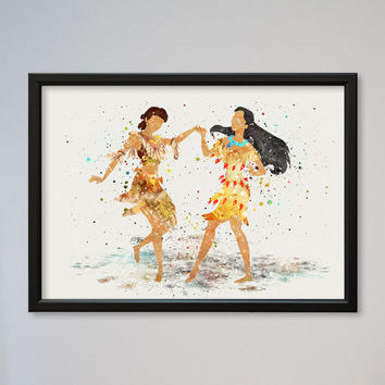 Pocahontas and Nakoma Disney Watercolor print Disney Watercolor Illustration poster Kids art Wall art Nursery Giclee Print Fine Art
