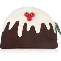 Charlotte Olympia|Christmas Pudding suede and patent-leather clutch|NET-A-PORTER.COM