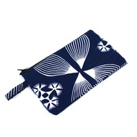 White and Blue Ankara Wallet