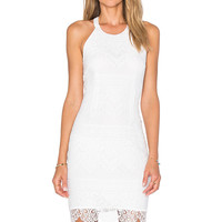 Bobi BLACK Lace Mini Dress in White