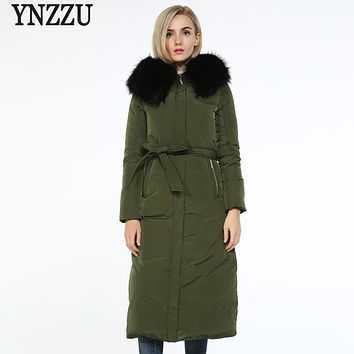 YNZZU New Winter Luxury Women Down Jackets Brand Red Elegant Extra-Long Real Fur Collar Hooded Warm Jacket Coat for Women O263