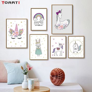 Nordic Cartoon Animals Unicorn Rabbit Canvas Painting Wall Art Poster And Print Wall Pictures For Kids Rooms Home Decor No Frame