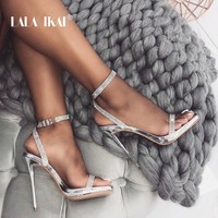 LALA IKAI Rhinestone Sandals Women High Heels Crystal Sexy Party Shoes Summer Transparent Ladies Sandalie Female 014C3557-4